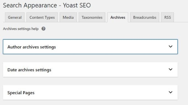 Archives trong Yoast SEO