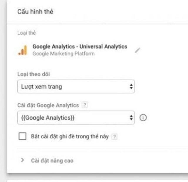 Biến cài đặt chọn cuối cùng là Google Analytics