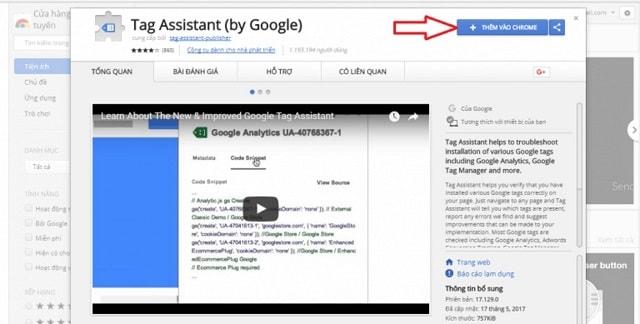 Cài đặt công cụ Google Tag Assistant