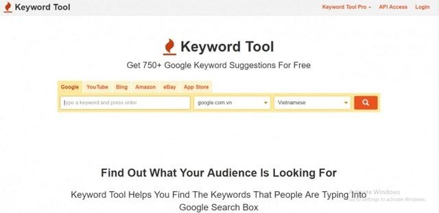 Giao diện chính của công cụ tìm kiếm từ khóa keywordtool.io