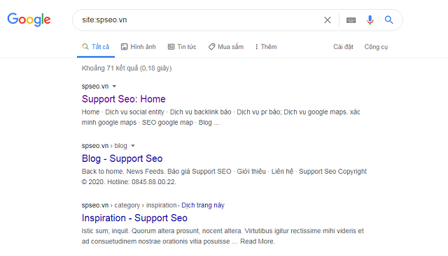 Kiểm tra google index website spseo.vn