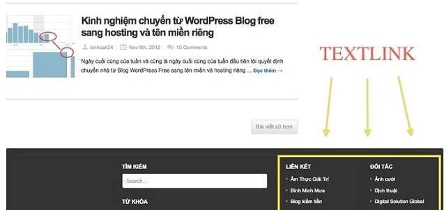 xây dựng được nhiều Textlink cho website