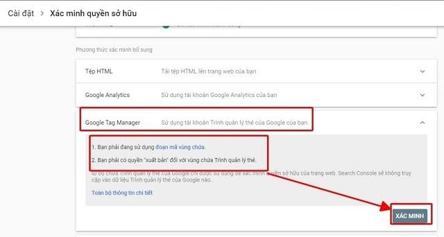 Sử dụng công cụ Google Tag Manager cài đặt Google Webmaster Tool