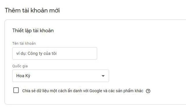 Tạo tài khoản mới Google Tag Manager