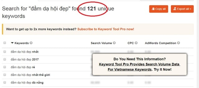 Nhập lên thanh tìm kiếm keywordtool.io