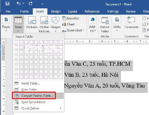cách chuyển đoạn văn bản thành bảng trong word
