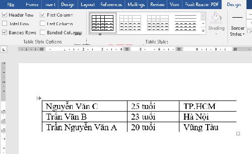 cách tạo bảng trong word bằng chuyển đoạn văn bản