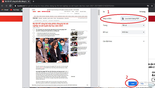 cách xuất một trang web sang file pdf