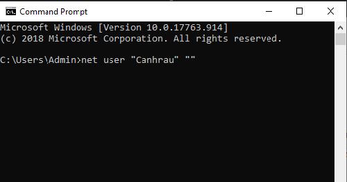 cách xoá mật khẩu đăng nhập máy tính bằng command prompt