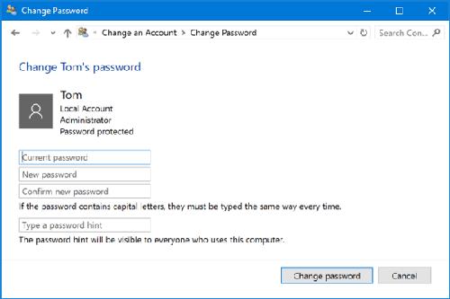 bật tắt mật khẩu máy tính win 10