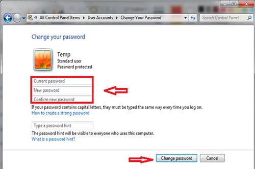 cách đổi mật khẩu máy vi tính