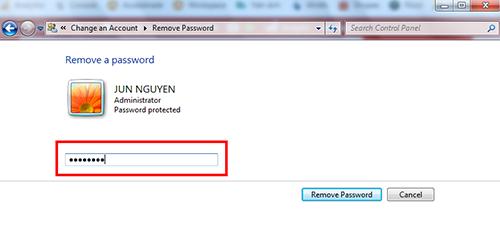 xoá mật khẩu laptop win 7