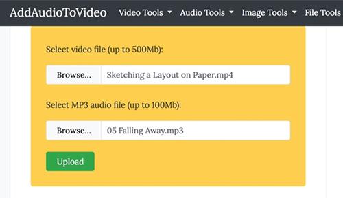 ghép nhạc vào video online với add audio to video