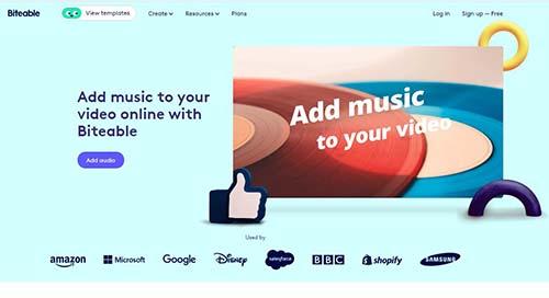 ghép nhạc vào video online với biteable