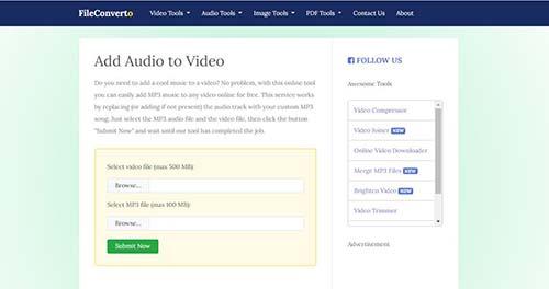 ghép nhạc vào video online bằng fileconverto