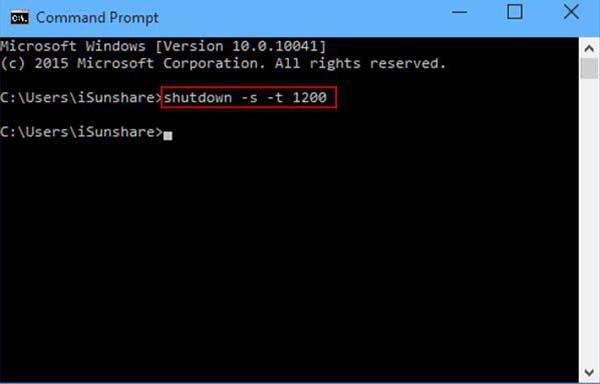 hẹn giờ tắt laptop bằng command prompt