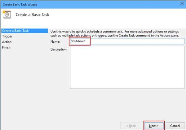 hẹn giờ tắt laptop win 10 bằng task scheduler