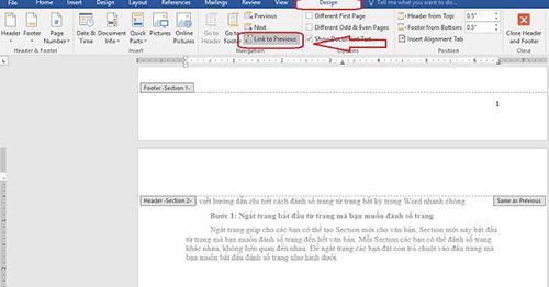 cách ngắt liên kết giữa 2 section trong word