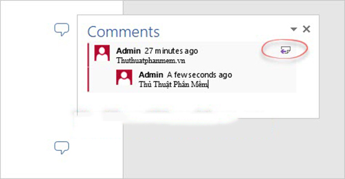 tạo comment trong word 2013