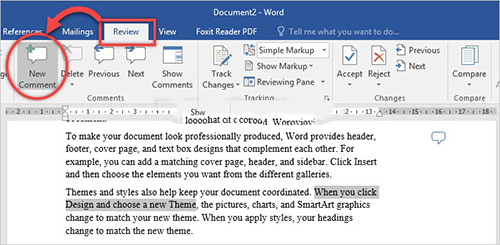cách tạo comment trong word 2016