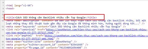 Cấu trúc code HTML của Meta Title